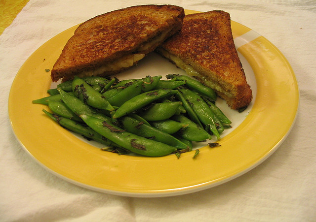 Grilled Cheese and Snap Peas with Mint