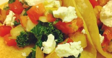 Kale squash Chevre tacos