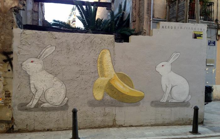 Rabbits and banana