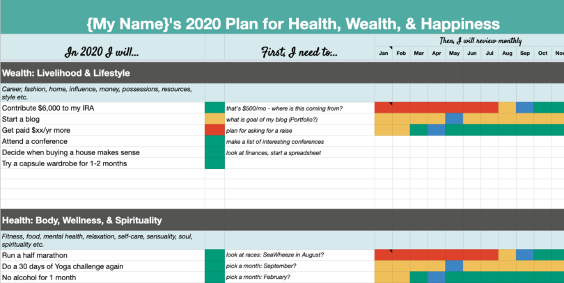 2020 goal setting template   ideas